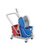 Chariot de lavage bi-bacs 2X15L avec presse à machoires