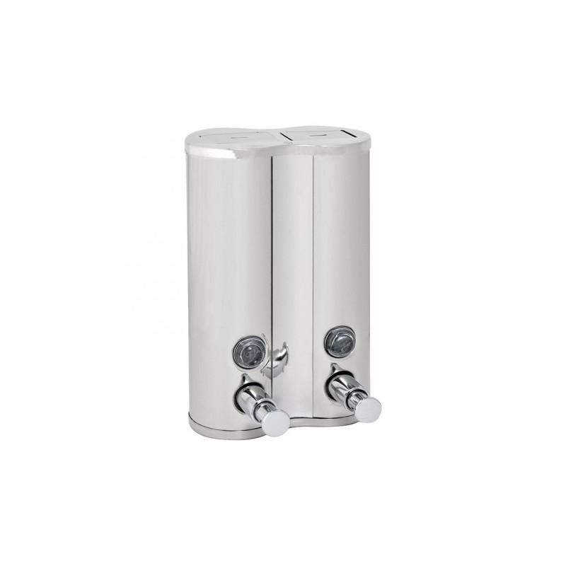 Distributeur inox gel douche et shampoing 2x500ml halvea - Distributeur gel douche mural ...