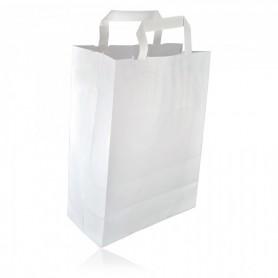 Sacs Cabas Kraft blanc À Poignée Plate 20X10X28 - Colis de 250