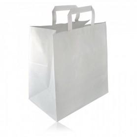 Sacs Cabas Kraft blanc À Poignée Plate 26X20X26 - Colis de 250