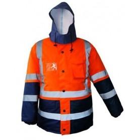 Parka LAPONIA 4 en 1 Haute visibilité Orange et Bleu Marine
