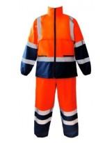 Ensemble de pluie MOUSSON Haute Visibilité Orange et Bleu Marine