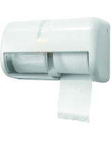 Distributeur horizontal double pour papier hygiénique sans mandrin