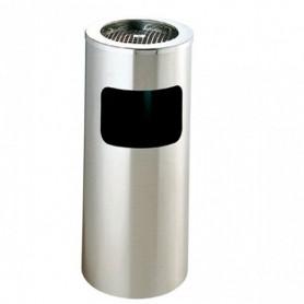 Poubelle cylindrique en inox avec cendrier