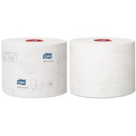Papier toilette Tork rouleau Mid-size Advanced 2 plis T6 - Colis de 27