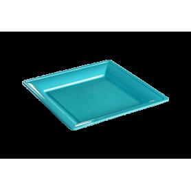 Assiette thermoformée carrée turquoise 18cm - Colis de 192