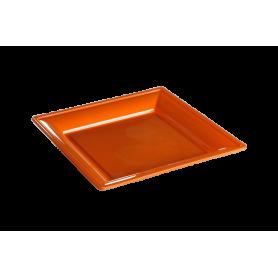Assiette thermoformée carrée orange 18cm - Colis de 192