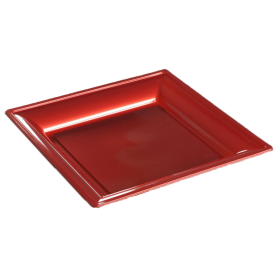 Assiette thermoformée carrée cerise 24cm - Colis de 192