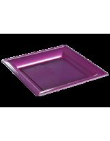Assiette thermoformée carrée fushia 24cm - Colis de 192