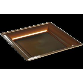 Assiette thermoformée carrée chocolat 24cm - Colis de 192