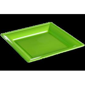 Assiette thermoformée carrée anis 24cm - Colis de 192