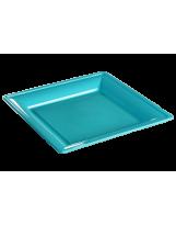 Assiette thermoformée carrée turquoise 24cm - Colis de 192