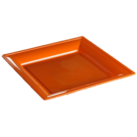 Assiette thermoformée carrée orange 24cm - Colis de 192