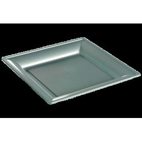 Assiette thermoformée carrée argent 24cm - Colis de 192