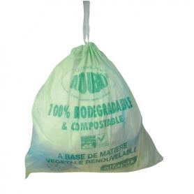 Sac type 40L lien coulissant vert biodégradable 500x650 - Colis de 250