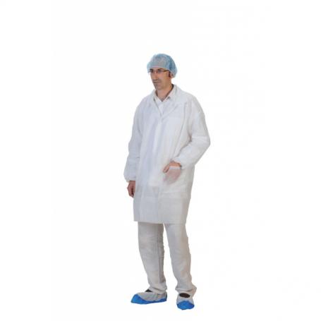Blouse PLP blanche à pressions avec poches et élastiques - Carton de