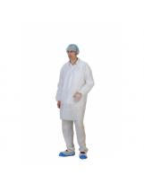Blouse PLP blanche à pressions avec poches et élastiques - Carton de 50