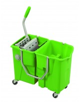 Chariot de lavage bi-bacs Clevy avec presse integrée faible encombrement