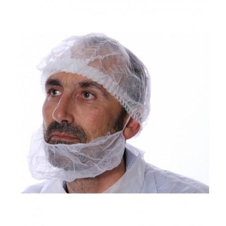 Cache barbe PLP non tissé blanc sans latex - Colis de 1000