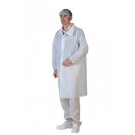 Blouse PLP blanche à pressions sans poches avec élastiques - Colis de 50