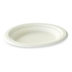 Assiette en fibre de canne 15,5 cm blanche biodégradable - Colis de 1000