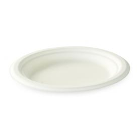Assiette en fibre de canne 17,5 cm blanche biodégradable - Colis de 1000