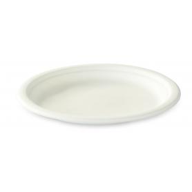 Assiette en fibre de canne 23 cm blanche biodégradable - Colis de 500