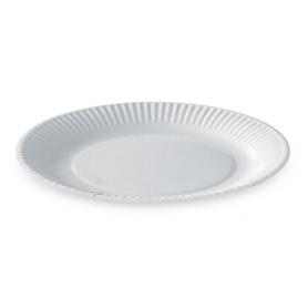 Assiette ronde en carton enduit 18cm blanche - Colis de 1000