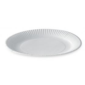 Assiette ronde en carton enduit 23cm blanche - Colis de 500