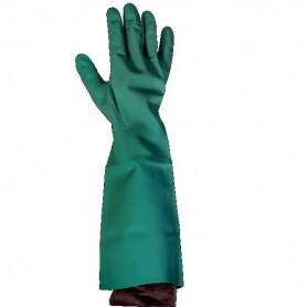 Gants de plonge nitrile vert manchette longue - La paire